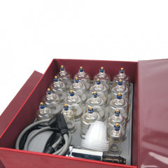 You get everything you need with this vacuum cupping set, 17 vacuum cups, a hand pump and an attractive storage case.