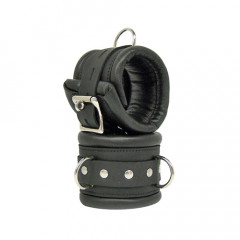 Black Leather Padded Lockable Wrist Cuffs