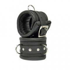Black Leather Padded Lockable Ankle Cuffs