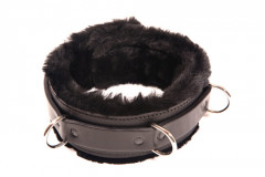 Black Fur Lined Leather Collar