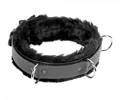 "1 1/4"" High Black Fur Lined Leather Restraint Collar"