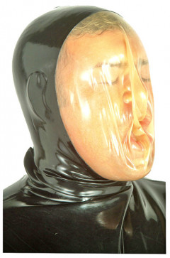 As you inhale the Latex Breather Hood collapses on your face.