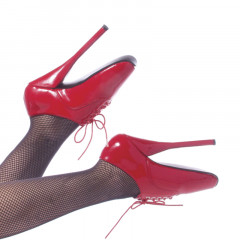 These red lace up ballet shoes are scream passion.