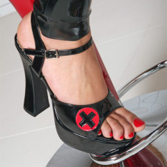 Sexy Black PVC Nurse Shoes