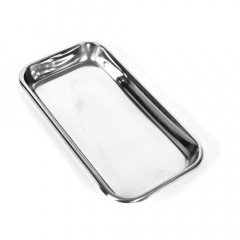 This small stainless steel instrument tray is extremely useful for medical fetish play.