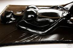 Black Latex Vacuum Bed