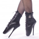 Imagine the restraint of having these locking leather ballet boots on.