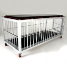 This cage is especially made for slaves that like to sleep in their cage, plus it features a full length bondage table. Made from aluminum this cage is easy to move around your dungeon with the optional wheels installed.