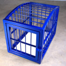 This is our round top puppy cage in blue powder coat; it makes a great addition to any dungeon for ultimate in extreme bondage gear.