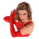 These red latex opera length gloves are incredibly sexy.